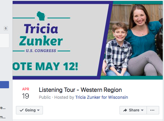 Tricia Zunker Listening Tour Western WI THIS SUNDAY 4-5 PM